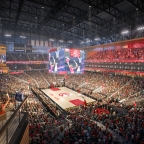 ATLANTA HAWKS TO SPORT FIRST-OF-ITS-KIND CONTINUOUS CENTERHUNG VIDEOBOARD AT THE NEW STATE FARM ARENA